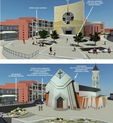 """un rendering che mette a confronto i due progetti che si sono succeduti della nuova chiesa e delle unità abitative del complesso """"La Petrara"""""""