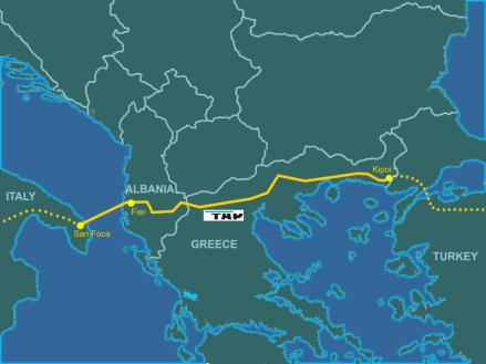 La mappa del percorso del metanodotto che dall'Azeirbaijan porterà gas Russo fino in Italia