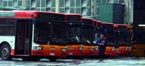 Roma 09/01/2004 Sciopero autotrasporti. Deposito ATAC di Piazza Bainsizza. foto mario de renzis